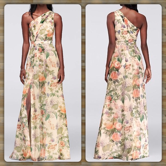 1b91246a877 Long One Shoulder Floral Printed Chiffon Dress